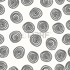 Hand drawn abstract seamless repeat pattern with round shapes in black and white  Stock Vector