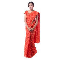 53932233997 Buy Red Bandhej Cotton saree with blouse Online