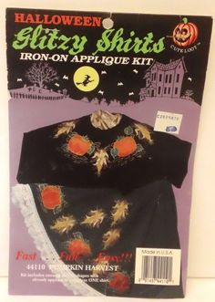 Halloween Iron On Applique Kit Pumpkin Harvest Glitzy Shirts NIP Ugly Sweater #WhatsNew #GlitzyShirts #HalloweenApplique #Pumpkin Harvest