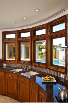 Kitchen -- My awesome bay window kitchen idea... just got better.  Double windows for venting @ top only / airflow.