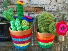 Miren qué linda versión de cactus tejidos: