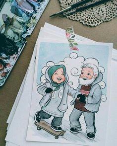İslamic anime Watercolor Beginner, Watercolor Paintings For Beginners, Muslim Family, Muslim Couples, Muslim Women, Cute Couple Art, Cute Couples, Hijab Drawing, Islam Marriage