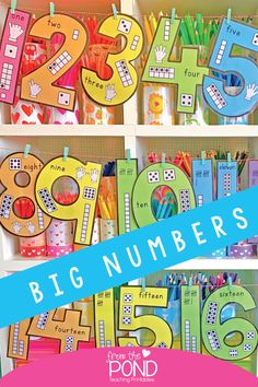 Print and display big numbers for helping students count to 20 and see representations for each number. Numbers Kindergarten, Teaching Numbers, Numbers Preschool, Kindergarten Lessons, Math Numbers, Preschool Math, Math Lessons, Teaching Math, Math Activities