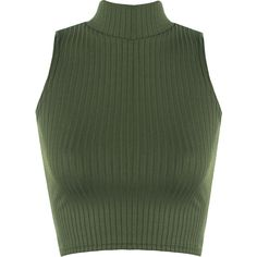 Luann Rib Turtle Neck Crop Top (€12) ❤ liked on Polyvore featuring tops, shirts, blusa, crop top, green, fitted shirts, green crop top, ribbed turtleneck, turtle neck top and sleeveless turtleneck top