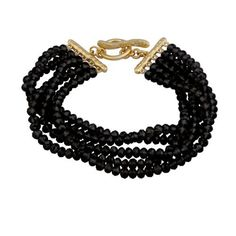 """18k Yellow Gold Plated Sterling Silver Black Glass Stacked Layered Bead Bracelet, 7.75"""" Amazon Curated Collection,  http://www.amazon.com/gp/product/B005KMQOC6?ie=UTF8=213733=393185=B005KMQOC6=shr=herliv02-20_rd_p=1261804642_rd_s=center-2_rd_t=701_rd_i=30_rd_m=ATVPDKIKX0DER_rd_r=1K6FYYGG2WQE8AN3BN3D"""