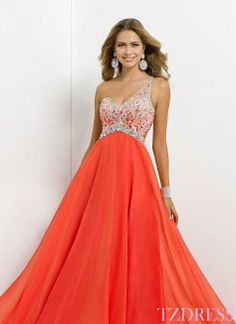 Shop 2014 Glistening Long One Shoulder Open Back A Line Princess Tulle Chiffon Prom Dresses Online affordable for each occasion. Latest design party dresses and gowns on sale for fashion women and girls. Orange Prom Dresses, Blush Prom Dress, Prom Dress 2014, Beaded Prom Dress, A Line Prom Dresses, Cheap Prom Dresses, Pageant Dresses, Homecoming Dresses, Bridesmaid Dresses