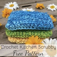 Crochet Kitchen Scrubby Pattern: Quick and easy pattern for beginners! Great for gifts, for selling at markets, as well as helping yourself create less waste in your own home! A fun way to use that scrubby yarn! Scrubby Yarn, Crochet Scrubbies, Crochet Yarn, Crochet Hooks, Free Crochet, Ravelry Crochet, Quick Crochet, Knitted Dishcloths, Crochet Hot Pads