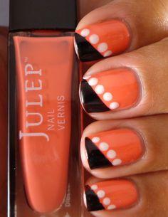 orange & black with white dots