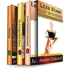 Join widowed library assistant and amateur sleuth Lexie Starr on her first three encounters with mayhem, murder, and a potential suitor.  Book 1: Lexie Starr accidentally discovers that her new son-in-law may be guilty of murdering his first wife. Then Lexie's daughter, Wendy, disappears.  Book 2: At the Grand Opening of a local B&B, the Historical Society's president is found murdered in the inn's grandest suite, and Lexie, much to the owner's chagrin, horns her way in on the investigation…