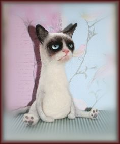 Needle Felted Grumpy Cat