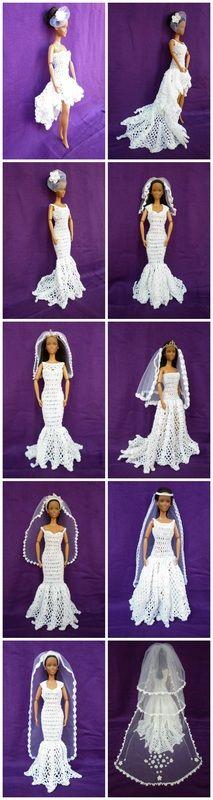 Veils - Wedding Accessories for Fashion Dolls via @beckastreasures #veils #crochet #barbie