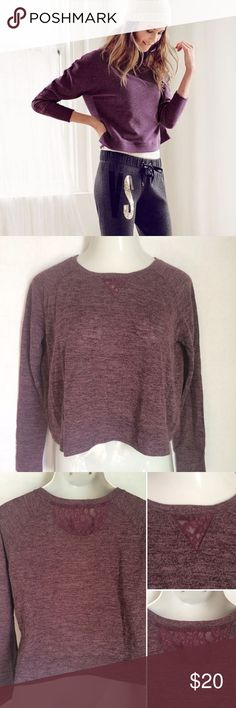 ✨NEW Listing✨Victoria's Secret crop top w/ lace Victoria's Secret purple heather crop top with lace insets at neckline on front and back is the perfect, easy attire for yoga, running errands, or just lounging. Relaxed fit. Size is S. 79% polyester/21% viscose. Not interested in trades. Victoria's Secret Tops Crop Tops