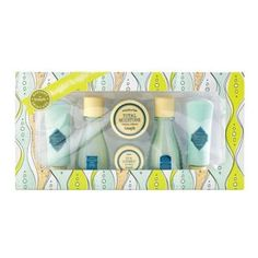 Benefit skincare 6-piece gift set £12.50. Includes:                * Foamingly clean facial wash 8.9g    * Refined finish facial polish 8.9g    * Moisture prep toning lotion    * Triple performing facial emulsion SPF 15 PA++ 8.9ml   * Total moisture facial cream 3.0g   * It's potent! eye cream 3.0g