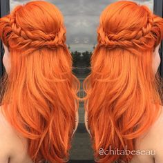 Elegant mermaid hair style by Chita Beseau. Fiery orange hair color Fishtail Braids fb.com/hotbeautymagazine