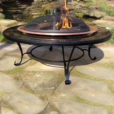 Granite Fire Pit table with Copper Bowl Outdoor Seating, Outdoor Rooms, Outdoor Tables, Outdoor Living, Outdoor Furniture, Small Gas Fire Pit, Cool Fire Pits, Copper Fire Pit, Garden Fire Pit