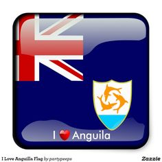 I Love Anguilla Flag Square Sticker