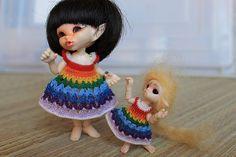 Really-Rainbow crocheted Dress for tiny bjd