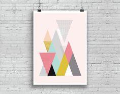 Nordic Design Poster, Geometric Gold Triangles Art, Printable Scandinavian Poster, Abstract Art, Instant download (BabyArt F9)