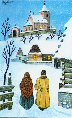 Josef Lada Christmas Scenes, Christmas Cards, Art In The Park, Antique Pictures, Christmas Paintings, Mexican Folk Art, Naive Art, Russian Art, Winter Scenes