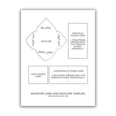 """Miniature Cards + Envelope Printable Template 