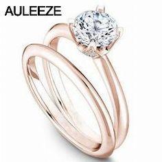 [ $23 OFF ] Classic Diamond Bridal Set 14K Solid Rose Gold Lab Grown Diamond Rings Solitaire 1 Carat Moissanites Engagement Wedding Rings