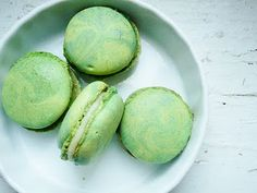 Lime/Cucumber/White Chocolate macarons!  An unusual combination, but the more I mentally taste it, the more I love it.