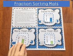Students will explore the value of fractions by comparing a fraction card to a benchmark fraction. Students will look for patterns and discover their own strategies for comparing fractions. I like to use this comparing fraction sort activity at the beginning of our fraction unit. It is a very hands on activity that gets kids talking about fractions and their values Comparing Fractions Sorting Mats