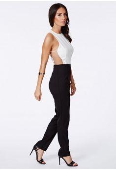 Gerda Monochrome Mesh Detail Jumpsuit - Jumpsuits & Playsuits - Jumpsuit - Missguided