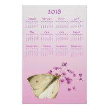 Butterfly and Garden Flowers 2018 Calendar Poster