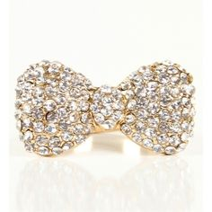 Rhinestone Gold Bow Ring ❤ liked on Polyvore