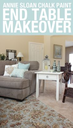 CHALK PAINT white end table **want to do this w/the two antique white end tables we have