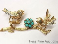 Vintage Heavy 14k Gold Diamond Turquoise Bird Nest Robin Egg Large Pin 8.8 grams