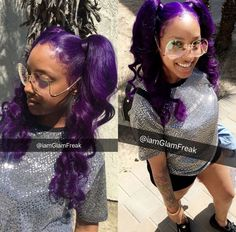 Purple pigtails hairstyle and color Baddie Hairstyles, Black Girls Hairstyles, Ponytail Hairstyles, Weave Hairstyles, Pretty Hairstyles, American Hairstyles, Black Girl Braids, Girls Braids, Purple Hair Black Girl