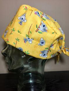 A Kola Kind of Day in Sunny Yellow Surgical Scrub Hat, Adorable Women's Animal Pixie Scrub Cap, Tie Back Cap, Custom Caps Company by CustomCapsCompany on Etsy