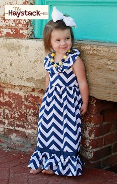 Girls Chevron Maxi Dress (2 colors)