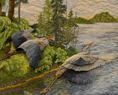 Quilt by Carol Seeley - from Luana Rubin. Beautiful! Looks like a painting. Love the 3D effect.
