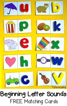 FREE Beginning Letter Sounds Matching Cards. This free printable can be used to practice letter sounds in several different ways: as shown in the image using movable letters, picture & letter cards matching, as worksheets where the child writes the letter next to each picture. A great FREE resource. Go to: http://www.totschooling.net/2015/10/beginning-letter-sounds-free-matching-cards.html