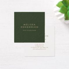 Minimalist Professional Modern Green Square Business Card - hair stylist gifts business cyo diy custom create