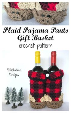 This Plaid Pajama Pants Gift Basket crochet pattern from Blackstone Designs can be used for hostess gifts, centerpieces, gift baskets (Movie night, sleep overs, Father's Day, get well soon...etc). #Crochet #crochetpattern #plaid #buffaloplaid #plaidmoose #mooose #mooseslippers