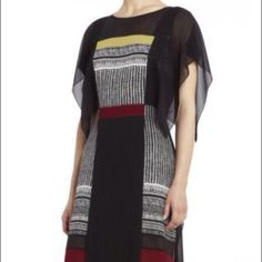 BCBG MAX AZRIA RUNWAY M Color Block 100% Silk BCBG Runway 100% Silk Limited Edition Dress, Size M, New with Tags   Details:  BCBG Runway  Color: Black, Maroon, White Chartruese  Size: M  *Crewneck. *Flutter sleeves. *Engineered woodblock print. Color-blocking.  Draping at side seams. Pleated trim. *A-line skirt.  *Concealed side-seam zipper with hook-and-eye closure.  *Self: 100% Silk. *Contrast 1, 3 & 4: Polyester georgette. 2: 100% Silk chiffon. *Lining: Polyester.  *Dry Clean Only…