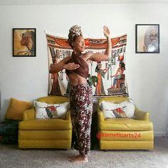 Pose of Min, vitality, sexual energy, p-meridian, cardiac stimulation. Kemetic Yoga (ancient Egyptian )