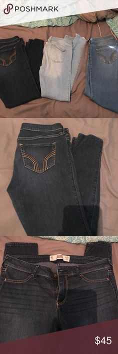 Bundle of Hollister Size 9/ 29 jeans!!! Bundle of Size 9/29 Hollister jeans!! •the super light washed jeans is a Skinny fit• the dark washed is a skinny fit • and the medium washed is a straight fit!!!  all in great condition!! no stains at all! •Jeans can be sold separately!!! • if jeans are sold separately, jeans will be $17 each!! • offers are welcomed!! Hollister Jeans