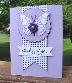 monochromatic card in purples ... Memory Box butterfly die ... clean design ... great card!