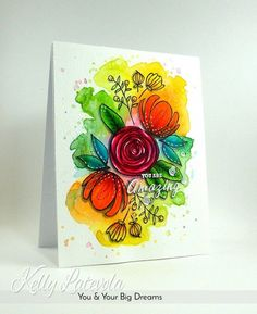 Cardmaking: Flower Arrangement with Loose Watercolor Background