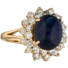 Pre-owned 18K Sapphire & Diamond Cocktail Ring ($2,195) ❤ liked on Polyvore featuring jewelry, rings, round sapphire ring, 18 karat gold ring, round halo diamond ring, statement rings and round ring