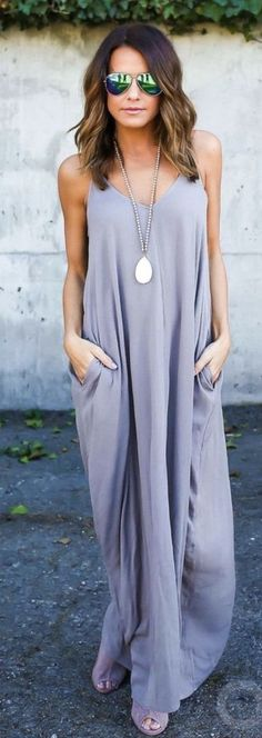 #summer #outfits Grey Maxi Dress // Shop this outfit in the link