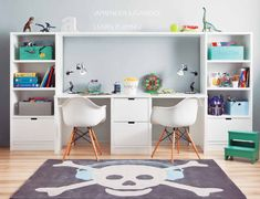 Dean and Seth's double desk in their room Boys Desk, Kid Desk, Double Desk, Bookshelf Desk, Desk Hutch, Small Space Storage, Girls Bedroom, Bedrooms, Interior Design Living Room