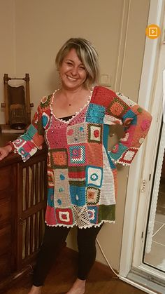 Crochet top colorful boho tunic Bohemian Gypsy Freeform Patchwork Designer Lace Blouse Pullover Sweater Plus Size / IN STOCK Crochet Jumper, Crochet Jacket, Crochet Cardigan, Filet Crochet, Knit Crochet, Moda Crochet, Crochet Fashion, Crochet Clothes, Crochet Patterns