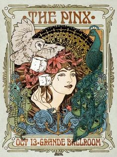 This Psychedelic Art Nouveau Poster By Darren Grealish measures and is printed on Poster stock paper. Design Art Nouveau, Art Nouveau Poster, Art Deco, Alphonse Mucha, Psychedelic Art, Klimt, Art Room Posters, Canvas Art Projects, Jugendstil Design
