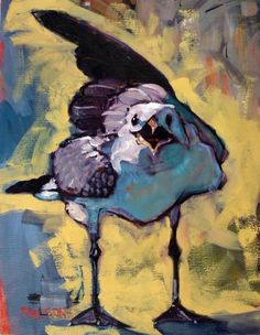 Gimme the Damn Cracker seagull, painting by artist Rick Nilson ----I met this same seagull on the beach already.